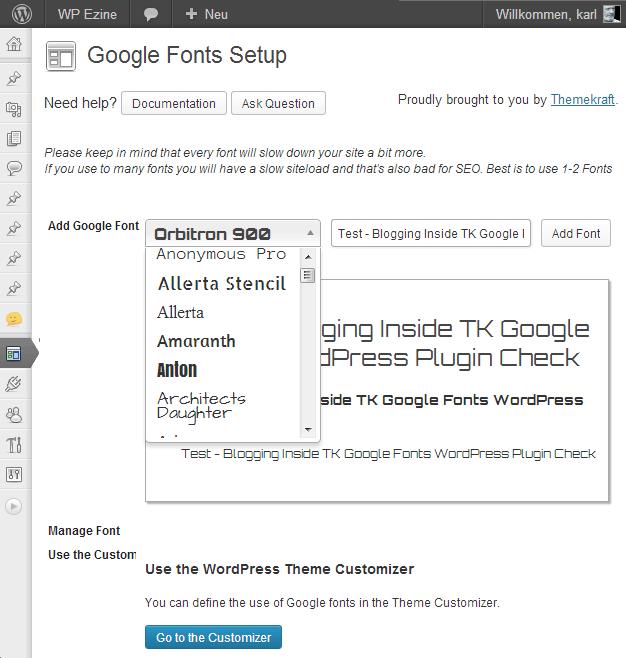 Fontauswahl – TK Google Fonts Plugin für WordPress von themekraft